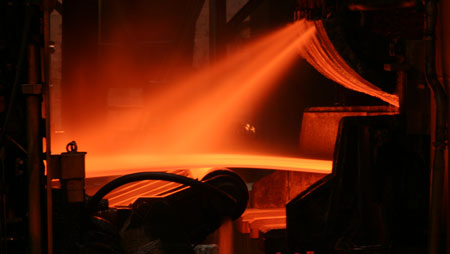 Photo of a hot-rolled sheet in the hot strip plant